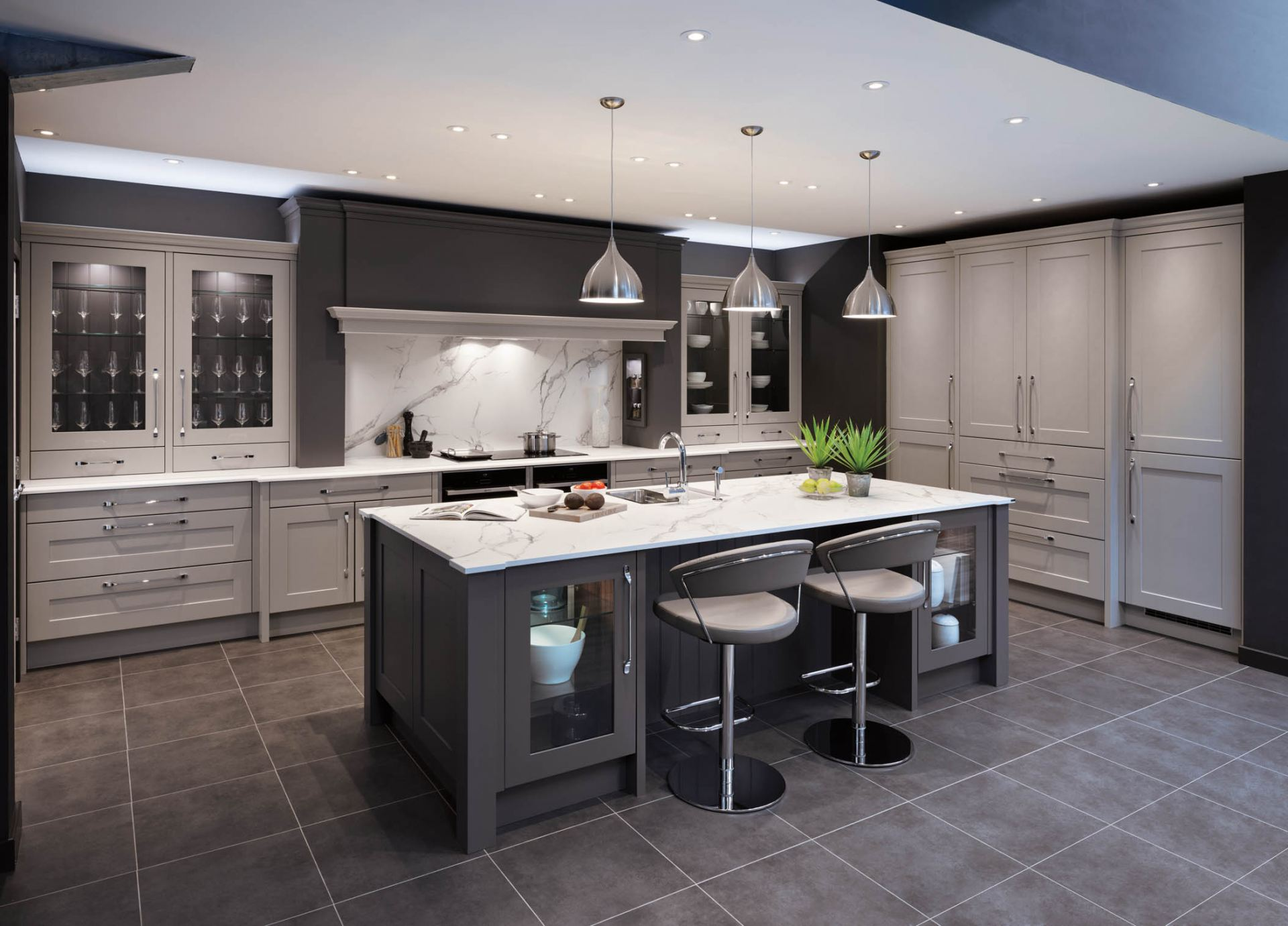 Light And Dark Gray Kitchen Cabinets